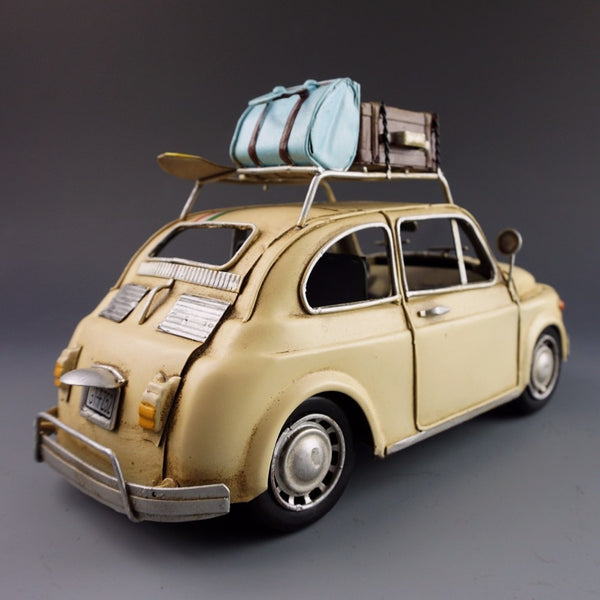 Antique classical car model retro vintage wrought handmade metal crafts Fiat500 for home/pub/cafe decoration or birthday gift