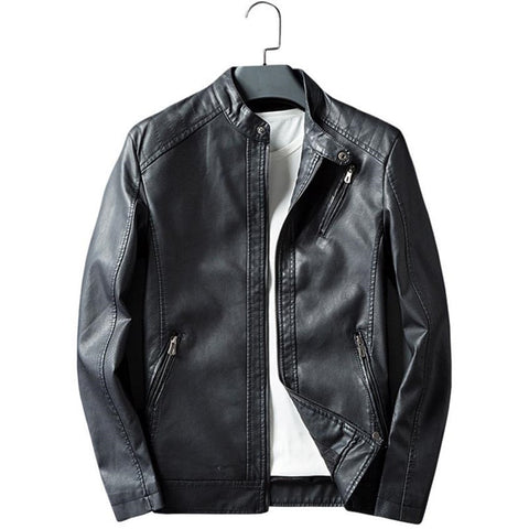 New quality listing and winter men's casual leather jacket motorcycle jacket lapel windproof coat solid color leather