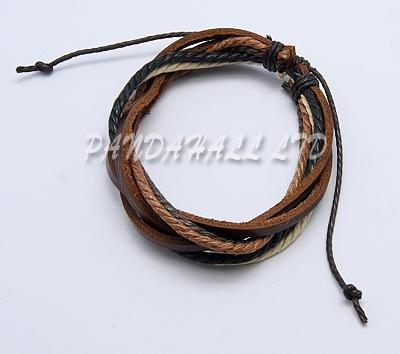 50 strands Adjustable Mens Gifts for Valentines Day Multi-strand Imitation Leather Bracelets  60mm