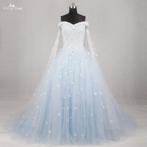 RSW1134 Light Blue Wedding Gown Wedding Dress 2016 Off The Shoulder Short Sleeves
