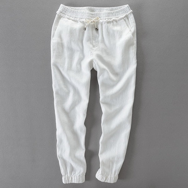 Elastic waistband drawstring linen pants men casual solid trousers men loose flax pants mens brand pantalon 30-40size big
