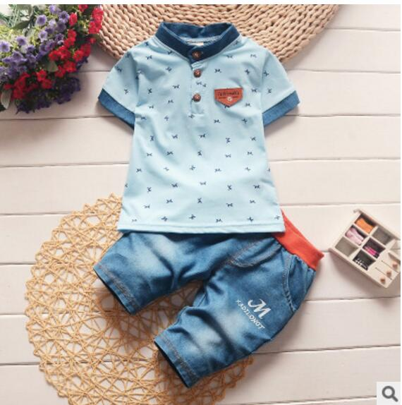 Children clothing gentleman summer baby boy clothes casual kids sport suits short-sleeved t-shirt+denim pants girl clothing sets