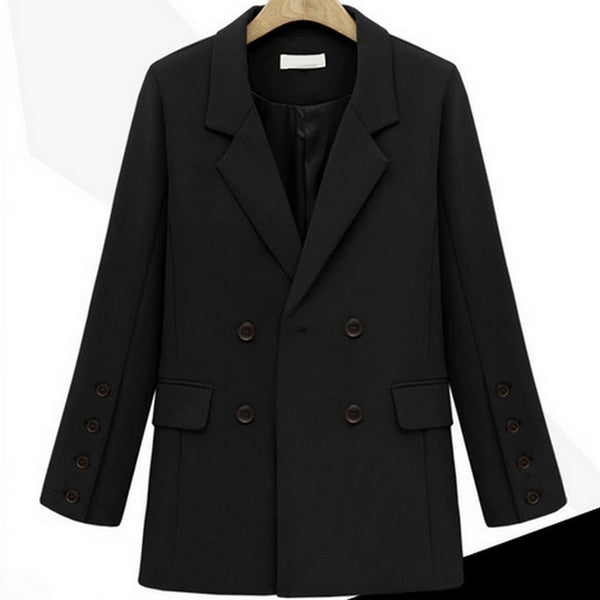Office Lady Blazer Female Long Sleeve Turn-down Collar Women's Suit  Winter Elegant Jackets Solid Color Coats