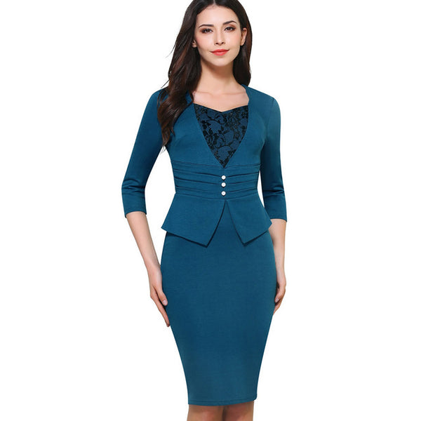 Nice-forever Vintage Brief Elegant Lace Casual Work 3/4 Sleeve Sweat Heart-Neck Bodycon Slim Women Office Pencil Dress B361