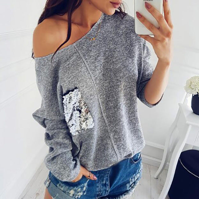 Knitted Sweater Women Sexy  Female Slash Neck Sequined Pullover Knitting Warm Winter Plus Size Jumper Pocket Autumn Top GV072