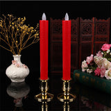 Remote And Timer, Pack of 6 Amber Dancing Led Flameless Candles,Red Plastic Battery Candles Moving Wick Taper Christmas Candles