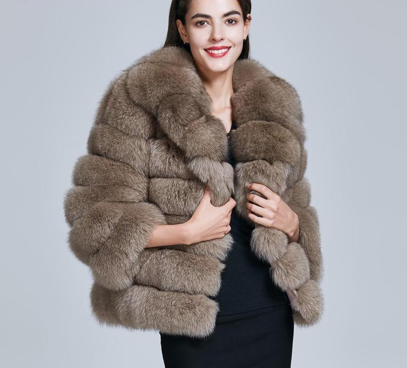 Women Fashion Real Fox Fur Coats Female Warm Natural Fox Fur Jacket Overcoat Winter Thick Outerwear Clothing ZC1729