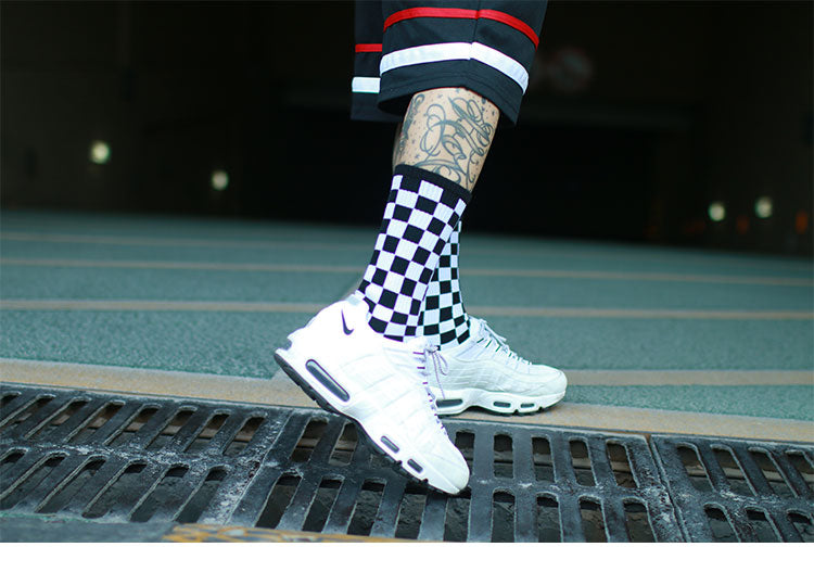 unisex Street skateboard striped socks Harajuku Meias fashion Plaid Hip-hop street dance skateboard stockings  Mens Women Socks