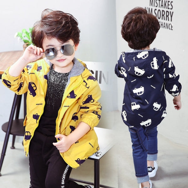 70-120cm 2018 Spring Jacket Boys Girls Kids Outerwear Cute Car Windbreaker Coats Fashion Print Canvas Baby Children Clothing