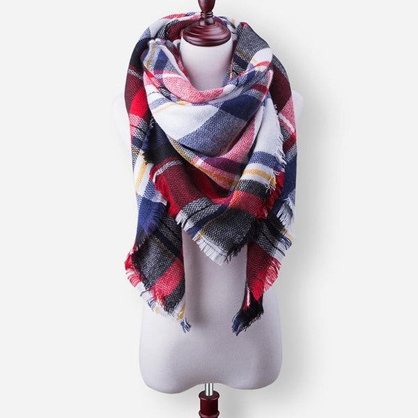 Luxury Brand Cashmere Winter Scarf For Women Scarf Wool Plaid Blanket Scarf Warm Pashmina Wrap Shawls and Scarves