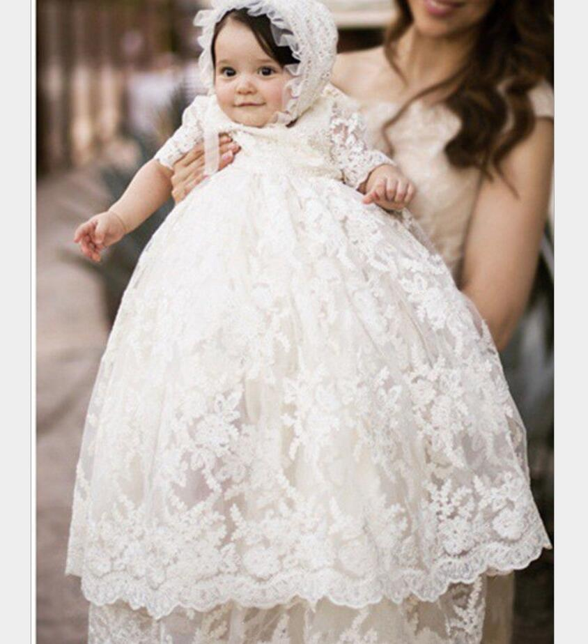 0087d13ee Enchanting Christening Dress Baby Girl Baptism Gown Lace Applique Ivory  2017 High Quality Custom outfit half ...