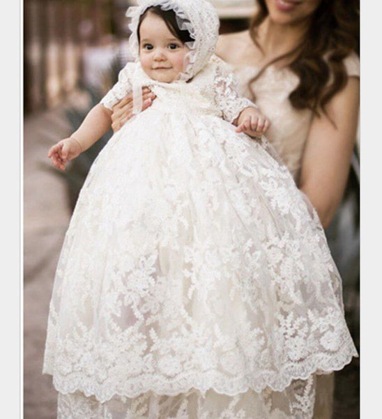 Enchanting Christening Dress Baby Girl Baptism Gown Lace Applique  Ivory 2017 High Quality Custom outfit half sleeves HW1072