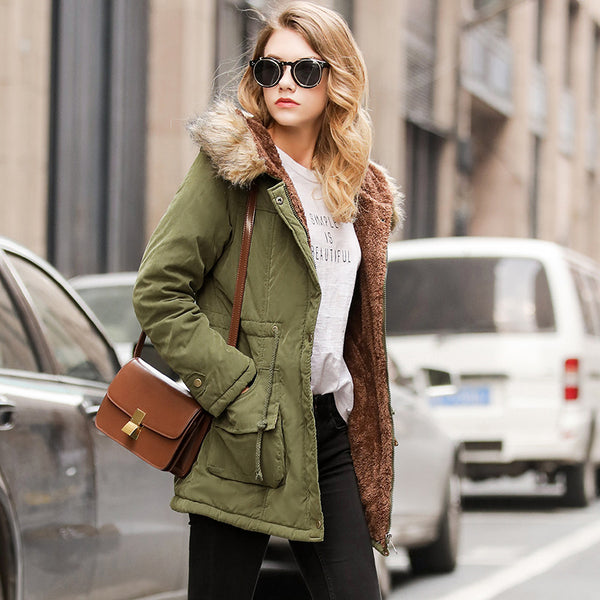 Parkas Female Women Coats Outwear Jacket Thick Fleece casacos de inverno feminino Parka