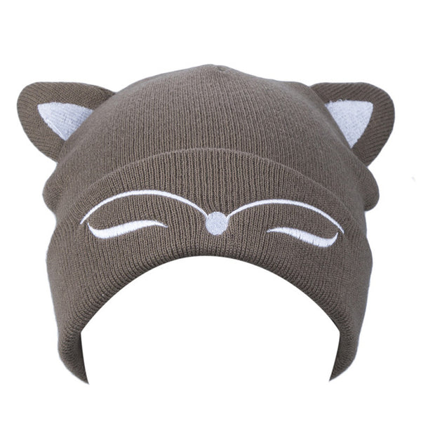 AWAYTR Woman Knitted Hat Wool Cotton Cuff Beanie Hat Ski Cap Spring Autumn Girls Hats for Women Sock Caps Stocking Hat Cat