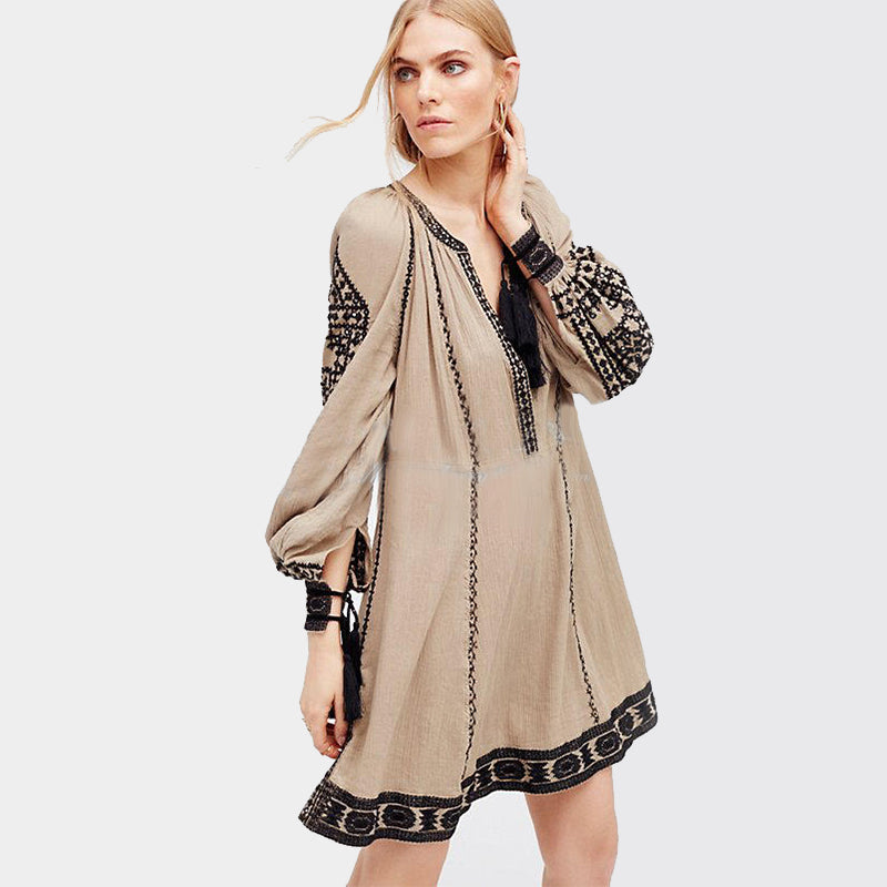 Long Sleeve Ethnic Dress Tassels Boho Hippie Chic Women Embroidery Dress Cotton Gypsy Vintage Dresses Womens Tunic