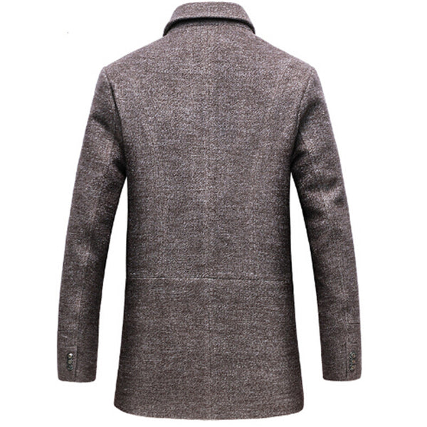 clothing mens 50% wool long windbreak jacket new fashion trench coat Classic wool knee length warm winter long mens