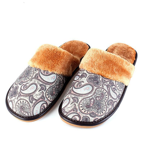 Printed linen home Men cotton slippers winter warm home indoor slippers For Household Large size shoes