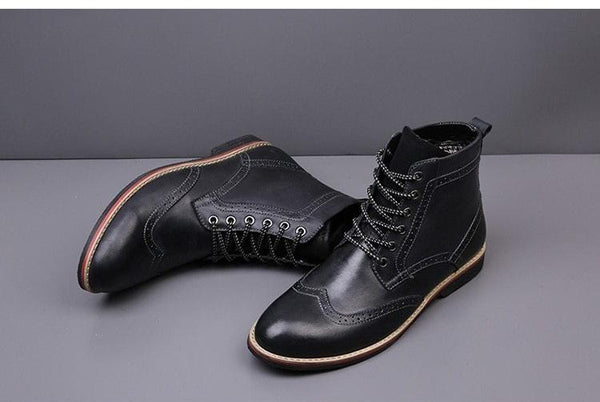 Autumn NEW Men Boots Vintage Brogue College Style Men Shoes Casual Fashion Lace-up Warm Boots For Man Brown
