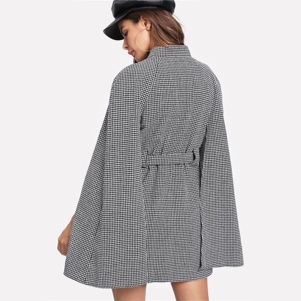 Vintage Long Coat Women Black and White Fall Coat Cloak Sleeve Stand Collar Self Belted Houndstooth Cape Coat