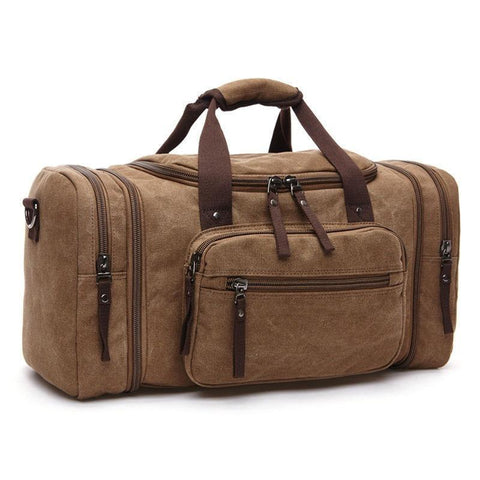 Large Capacity Men Hand Luggage Travel Duffle Bags Canvas Travel Bags  Weekend Shoulder Bags Multifunctional Overnight 99ac8a81e0415