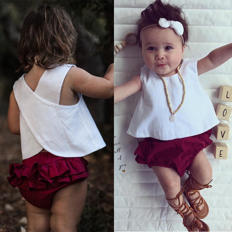 3e14c7a179c 3PCS Infant Toddler Kids Baby Girl Top Vest+Shorts Pants+Headband Clothes  Outfit Summer ...