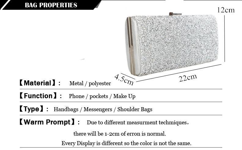 Scione Women Evening Bag Luxury Black/Silver Wedding Party Bag Diamond Rhinestone Clutches Crystal Bling Gold Clutch Bag Purses