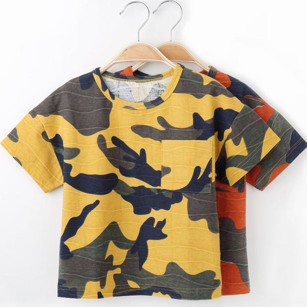 Children T Shirts For Boys O-neck Camouflage Design Kids T-shirts For Girls Short Sleeve Tops Spring Summer Cotton Tshirt X8806