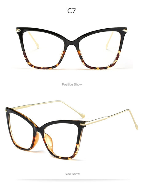 Fashion Cat Eye Eyeglasses Frame Women Computer Optical Eye Glasses Spectacle For Women's Transparent Clear Lens Female RS214