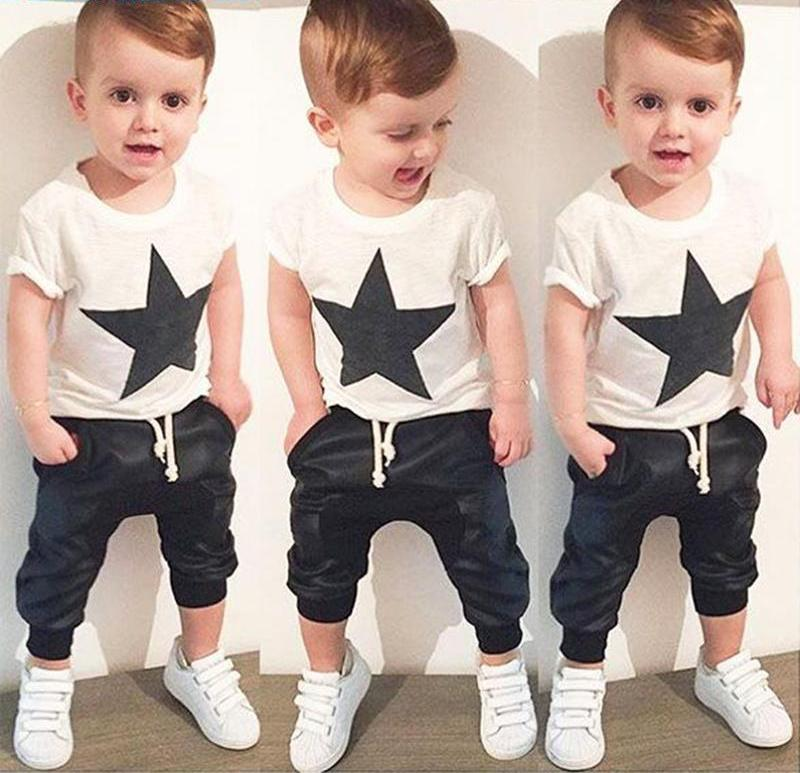 Baby Clothing Sets Summer Style Baby Girls Boys Clothes Black Letter T-shirt+Imitation cowboy pants 2pcs suit