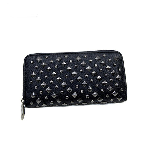 Women Punk Style Faux Leather Clutch Wallet Long Rivet Card Holder Purse Handbag