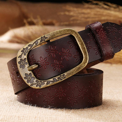 2018 New Vintage Leather Belt Woman Genuine Cow Skin Fashion Floral Curved Buckle Belts For Women Top Quality Accessory