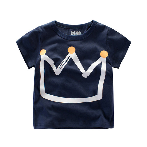 Cartoon Child Boy T-Shirt Cute Crown Short Sleeve Tees Baby Girls Summer Kid Casual Costume Top 2-7T