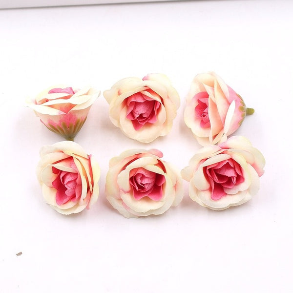 10pcs 4cm Silk Rose Artificial Flower Wedding Home Furnishings DIY Wreath Sheets Handicrafts Simulation Cheap Fake Flowers