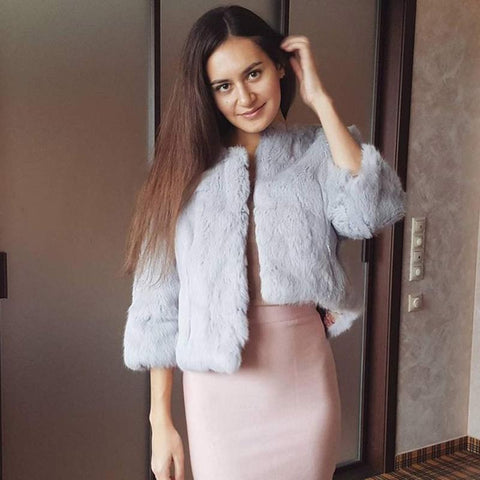 Women Real Rabbit Fur Coat Natural Rex Rabbit Fur Coat O-Neck Fashion Slim Thin Rabbit Fur Coat Full Pelt Genuine Fur Jacket