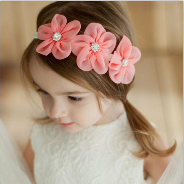New Ribbon Pearl Diamond Hairband Newborn Hair bands Sewing 3 Flowers Headband Kids Hair Accessories for Girls