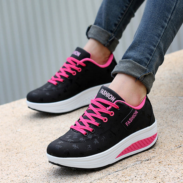 Women shoes 2018 new arrival fashion pu leather breathable waterproof wedges platform shoes woman casual shoes sneakers