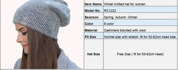 Women Winter Hats Beanies Knitting Rabbit Wool Fur Hat Female Real Fur Skullies Caps Gorros Solid Color RC1222-2