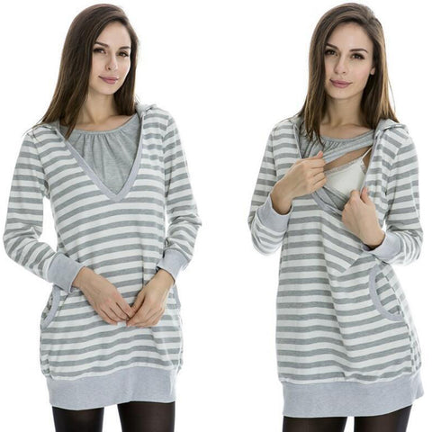 Plus Size Pregnancy Autumn Women Maternity Clothes Hooded Breastfeeding Striped T-shirt Nursing Clothes for Pregnant Women