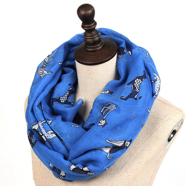2018 Women Fashion Dog Printed Scarf Female Autumn Winter Spotty Dog Shawls New Soft Long Casual Shawl Scarves