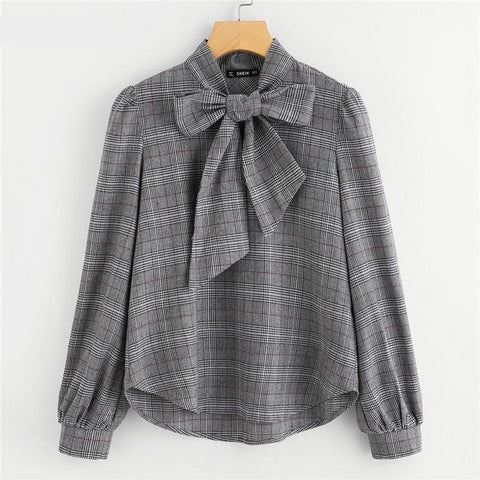 Elegant Womens Tops and Blouses Work Women Blouses Grey Bow Tie Neck Long Sleeve Regular Fit Plaid Blouse