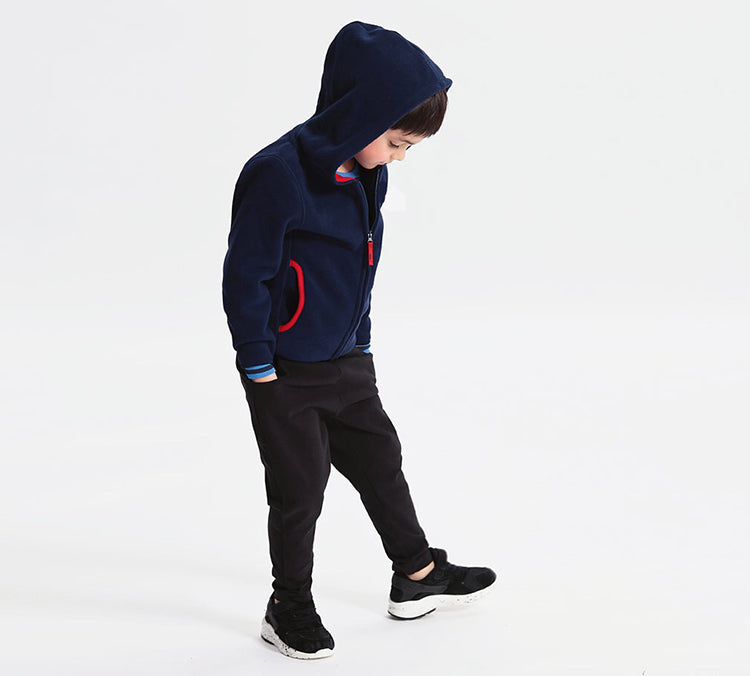 Autumn children's clothes solid long sleeve fleece thin zipper cardigan boys jackets for boys girls kids outerwear coats