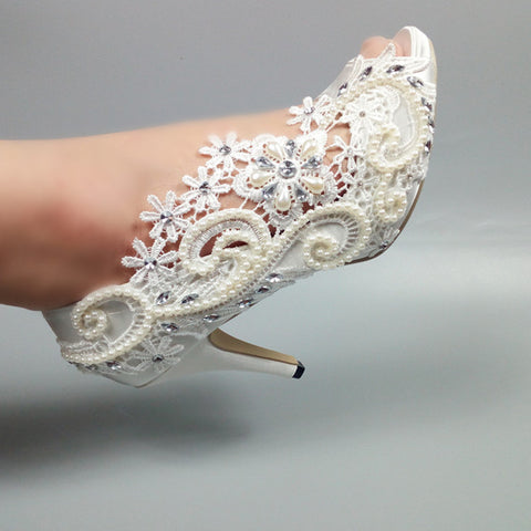 2018 New white Lace Womens weddding shoes Peep Toe pearl crystal party dress shoes 5cm/8cm/10cm thin heel Pumps High shoes
