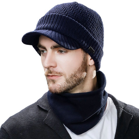 Knitted Unisex Beanies Hat For Man Winter Balaclava Snowboard Fleece Skull Peaked Cap Scarf Face Mask Wool Hat Set