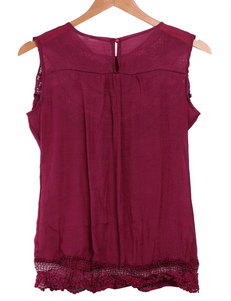 Sexy Women Fashion Summer Vest Top Sleeveless Hollow Out Lace Hole Casual Tank Tops Dark Red Khaki