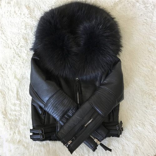 Women Real Sheep Fur Coat Winter Warm Fashion Genuine Merino Sheepskin Leather Jacket Natural Real Large Raccoon Fur Collar Coat
