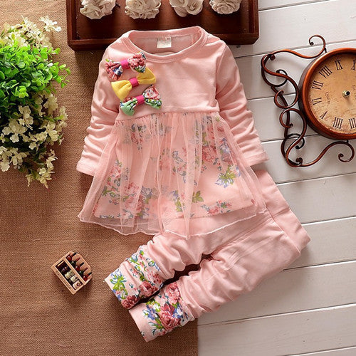 ac7b5a0489ef1 ... Baby Girls Clothing Sets with Floral Bow 2018 Spring Kids Clothes Girls  Dress+Pant Children ...