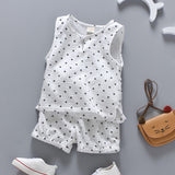 Cotton Linen Boys Girls Suit Summer Sleeveless Vest Shorts 2pcs Suit Children Set Clothing Kids