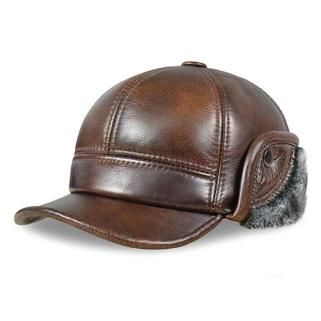 Men's Genuine Leather baseball caps hats Russian Winter snow Warm baseball Hat / Cap  with Faux fur inside for old man