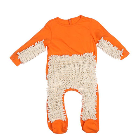 Children Mop One-Piece Suit  Clothes Crawling Cotton Polishes Floors Cleaning Clothing Baby Crawls Toddler Swob Jumpsuit