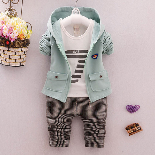3 pieces Set Baby Boys Spring Autumn Sports Suit Cotton Tracksuits Kids Clothing Sets Casual Clothes Hooded Coat+ Pant +T-shirt